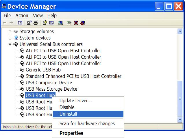 How to Uninstall USB Root Hubs