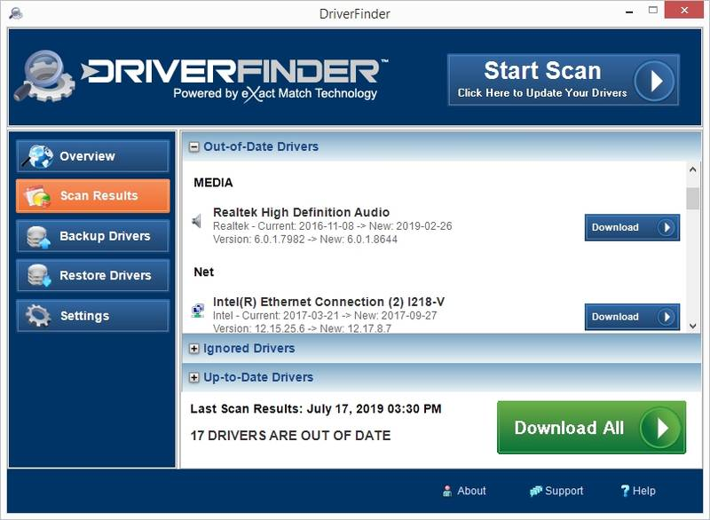 Click to View Full ScreenshotDriverFinder 2.0.3 screenshot